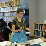 Marta Chudolinska instructing at block printing workshop
