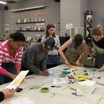 Zine Library Workshop: Linocut, February 14, 2017. Group shot.
