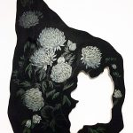 Woman in Chrysanthemum Forest Under Full Moon: Part 1, acrylic on wood by Sohae Jeong