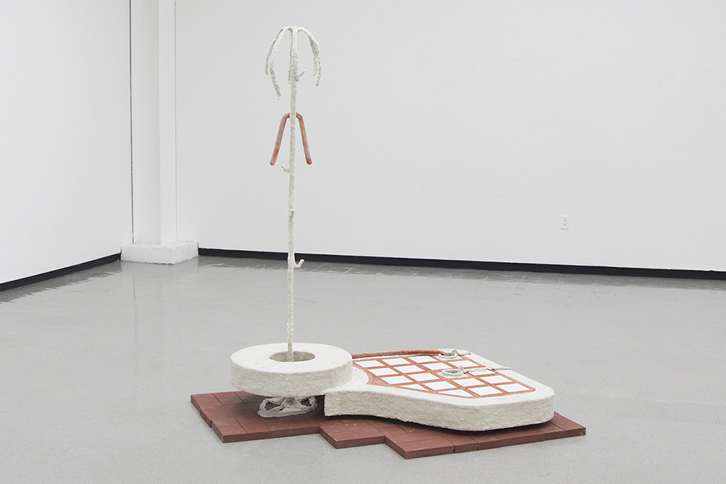 """Something About This Place,  Julien Woolley-Fisher (Cement, Air Dry clay, Adhesive spray. Dog hair and other debris, Ceramic Tile, Brick) 48"""" x 48"""" x 36"""" 2020"""