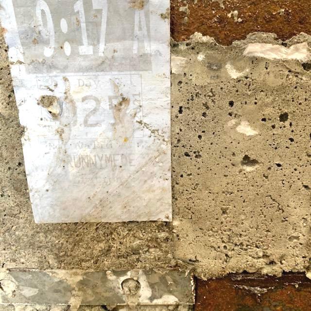 Injury At Track Level, Janeen Gilbert (concrete, rebar, metal, nails, screws, porcelain tiles, tactile flooring, shoes, tie, glasses, jeans, subway transfer) 5ft x 2ft x 1ft 2021