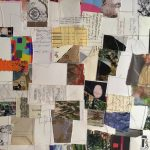 Vestige Echo, Velta Vikmanis ( photos, maps, programs, newspaper articles, cards, receipts, journal pages, various papers, assorted artifacts collected over decades and thread) 9' x 7' 2021