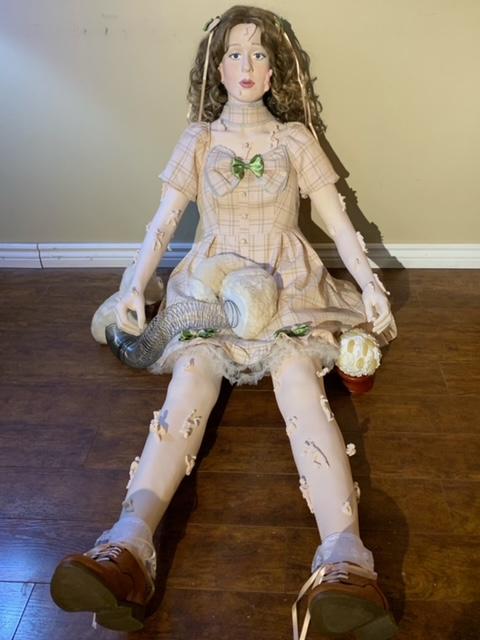 """On the Human Terrain"",  Hayley Myatt (paper pulp, plaster, drywall compound, acrylic paint, clothing, hair) 2ft x 3.5ft x 2"